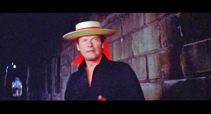 Unforgettable Roger Moore with a gondolier's hat in Moonraker, 1979.